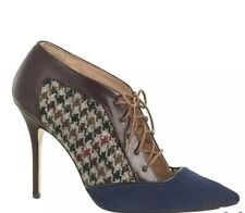 JCrew SIZE 6 Collection Lace Up Calf Hair Houndstooth Pump Heels Italy Navy Blue