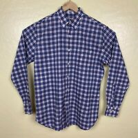 Peter Millar Crown Vintage Button Up Shirt Mens Size Medium Blue White Red Check