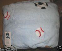 The Big One Super Soft Plush Throw Blanket Sports Balls Light Blue 60x72 NWT $40