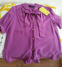 Luisa Spagnoli Purple Silk Pussy Bow Blouse Size S with golden buttons BNWT