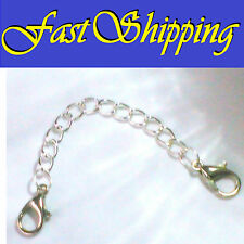 """4"""" SILVER EASY OPEN DOUBLE LOBSTER CLAW CLASP NECKLACE BRACELET EXTENSION CHAIN"""