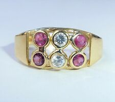 18ct Gold Ruby & White Topaz Ring, Size P
