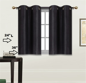 "2 SOLID SHORT GROMMET PANELS WINDOW CURTAINS FOR ANY ROOM 24"" OR 36"" LENGTH"