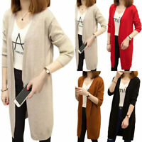 Women Plain Long Knit Cardigan Jacket Coat Ladies Casual Sweater Outwear Winter