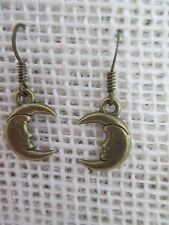 """Earrings hook celestial man in the moon crescent bronze tone about 1/2"""" long"""