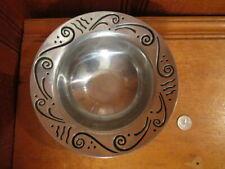 "Vintage Lenox Polished Aluminum Pewter 8 1/4"" Decorative Bowl Scroll Pattern Euc"