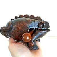 Hand Carved Wooden Frog Thailand Croaking Sound Musical Instrument Toy Handmade