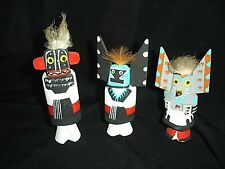 3 Vintage Miniature Wood Hand painted American Indian Totems
