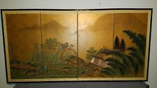 Japanese/Byobu/4-Panel/Signed/ Folding Screen/water mill/ Mountain scene/no.F303