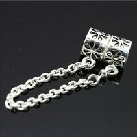 Top Charm Alloy Silver Chain Safety Chain Bead Fit Bracelet Jewelry Making 3C