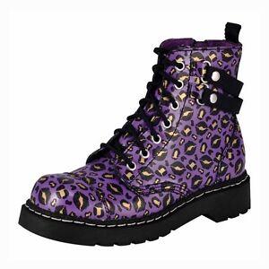 T.U.K. Shoes Anarchic 7 Eye Boot Plum Kiss Leo Sizes US 5 M