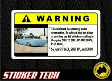 WARNING MINI TRUCK STICKER DECAL SUITS NAVARA HILUX RODEO LOW SR5 PROJECT AIRBAG