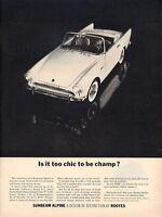 1963 Sunbeam PRINT AD Alpine Convertible Sports Car 2-Door