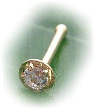 Piercing para nariz redonda real oro 750 circonita nasenstecker dorado calidad zs7505