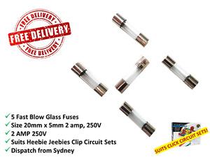5 x 20mm x Fast Acting Quick Blow Glass Tube Fuses - F2AL250V - 2amp - 250V