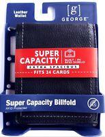 GEORGE NEW JUMBO SUPER WALLET RFID MEN'S BIFOLD 17 CARD SLOTS BLACK LEATHER