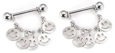Nipple Ring Bars Smiley Faces Body Jewelry Pair 14 gauge sold as pair