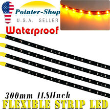 "Amber 4pcs 12"" Car Motors Truck 15 SMD LED Flexible Strip Light Waterproof 12V"