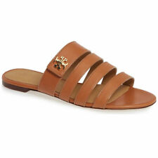 Tory Burch Women's Tan Leather Kira Slides Flat Shoes Sandals