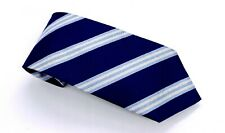Brooks Brothers Tie Traditional Blue White Broad Striped Silk 59 x 3.25 USA New