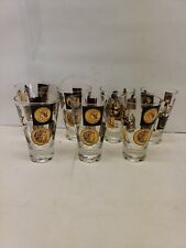 7 Vintage Flared Drinking Glasses, Black and Gold, Coins, Early Man