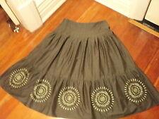 sportscraft khaki embroidered full skirt cotton   1950s style