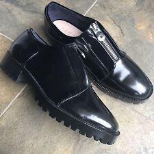 ZARA Trafaluc Black Leather Zipper Boot Style Dress Shoes Low Pump EU 40 US 9