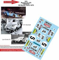 DECALS 1/18 REF 979 ALPINE RENAULT A310 THERIER RALLYE MONTE CARLO 1975 RALLY