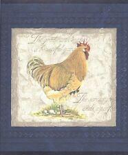 Rooster on Blue Venetian Plaster Wallpaper Border 30706510