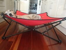Pet Bed Collapsible Trampoline Dog Hammock M RED with liner - ideal for camping