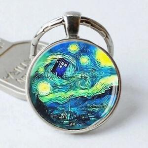 Tardis and Starry Night - Van Gogh Gift Photo Cabochon Glass Pendant Keychain