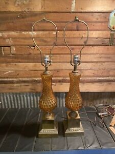 Vintage Pair (2) Mid Century Optic Amber Glass Table Lamps