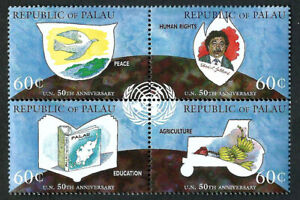 PALAU, SCOTT # 374, BLOCK OF 4 UNITED NATIONS 50th ANNIVERSARY, MNH YEAR 1995