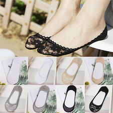 Women Lady Girl Socks Summer Invisible Low cut ankle Boat Lace Short Socks EB