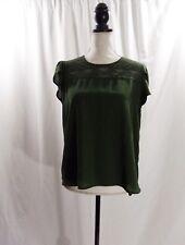 Lily White Womens Green Short Sleeve Neck Detail Hi Lo Hem Blouse Size Medium