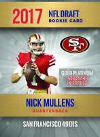 (2) -NICK MULLENS 2017-VERY FIRST NFL GOLD PLATINUM ROOKIE CARD 2,000 49ERS🔥🔥!