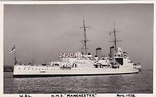 Royal Navy Real Photo. HMS Manchester Light Cruiser. Sunk by Italian MTBs. 1938