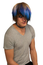 Mens Goth Rocker Wig Short Hair Bangs Punk Emo Brown Blue Black Streaked Adult