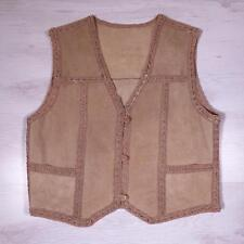 Ladies Vintage Beige SUEDE WAISTCOAT Vest Boho Festival Large #D4143
