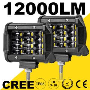 "Pair 4"" inch Work Lights Cree Spot Flood LED Light Bar Reverse Truck 4WD ATV 12V"