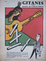 PUBLICITÉ DE PRESSE 1957 GITANES CAPORAL ACEC OU SANS FILTRE - FIX MASSEAU - AD