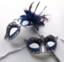 HIS N HERS TWO BLUE VENETIAN MASQUERADE PARTY EYE MASKS LADIES MASK ON STICK