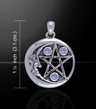 Crescent Moon Pentacle Pendant w/Moonstone ~Sterling Silver   Peter Stone