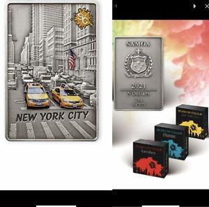 5 Dollar Samoa 2021 AF - 2 OZ Splash of Colours - New York City 2021