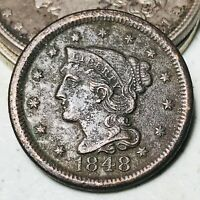 1848 Large Cent Matron Braided Hair 1C Good Date Details US Copper Coin CC5653