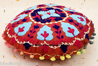 Indian Round Pillow Sham Case Embroidered Cushion Cover Home Decor Cotton Throw