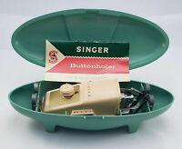 Vintage Singer Buttonholer Retro Atomic Green Case 4 templates Inc Instructions