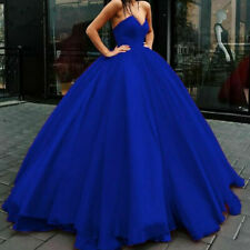 2020 Blue V Neck Prom Dresses A Line Tulle Evening Gown Quinceanera Dress