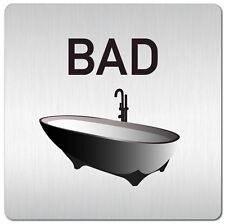 "Aluminium Schild ""Bad"" 125 x 125 mm • Damen • Tür • WC • Toilette • Türschild"