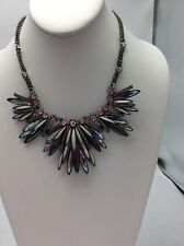 $225 Givenchy Hematite Multi Cluster Statement Necklace 201B